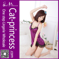 Charming design purple satin silk lingerie