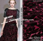 dark red burn out silk velvet fabric the back 100% silk , the back viscose