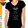 Customized V neck Rhinestone Ladies Cotton Lycra T-shirts