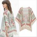 2014 Limited Freeshipping Tassel Regular Floral New Antique Flower Fringed Shawl Sweater Chiffon Kimono Cardigan Coat Jacket