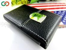 Black Leather ID/Business Card Holder/New Design Metal Business Card Case&business & finance MR-L-039