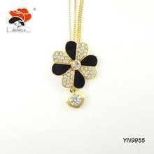 gold two-layer chain elegant crystal resin shell nice flower pendant necklace jewelry