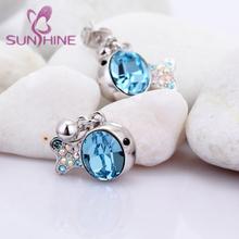 Hot Selling Zircon Blue Crystal Nemo Earring For Women