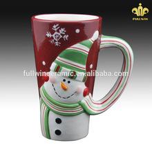 Decorated christmas snowman mug, snowman gift christmas ceramic coffee mug