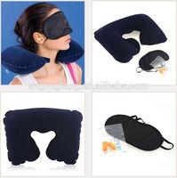 3 in1 Travel Set eye mask & 2 Ear Plug & folding inflatable travel pillow