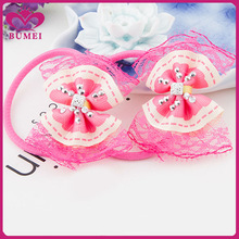 Lace edge bow hair accessories for little girls
