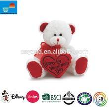 "Custom valentines day teddy bear with heart /White & Red ""Happy Valentine's Day"" Plush Teddy Bear Stuffed Animal Gift"