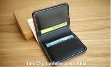 Custom men slim leather credit card case/pocket money clip