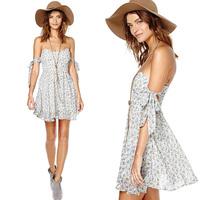 FanShou 2014 Women Summer Fashion Special Sleeve Lacing Boob Tube Top Shivering Dress 6118