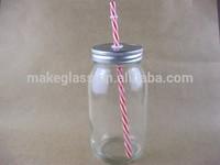 Wholesale 800ml glass mason jars with straw and metal lid,mason jars,glassware