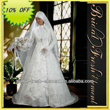 Hot Sale Long Noble Good Quality Lace Long Sleeve Modest Muslim Wedding Dress