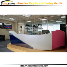 Colorful good-looking design front face solid surface Artificial Stone/marble artificial stone corian curved reception