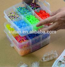 Customized PP plastic box rainbow bracelet loom /elastic small rainbow rubber loom rubber bands bracelet