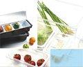 carro de servicio condimento titular de plástico y bandeja de comida de plástico de cocina