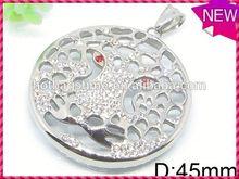Modern personalized design jewelry satine finish round ash pendant