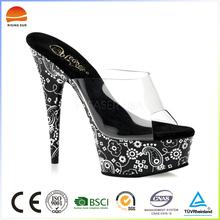 Black sole white flower pattern design women pumps high heels sandals