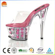 Hot selling wedding party rose flower platform slippers high heels transparent