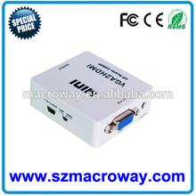 Mini VGA to HDMI Up Scaler 1080P Converter Adapter Audio Video Digital Converter for PC HDTV