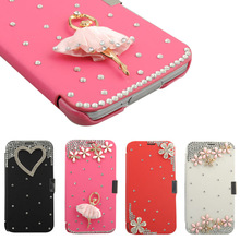 C1465 Rosy Diamond Leather Wallet Flip Case Cover For Samsung Galaxy S5 S V i9600 G900