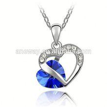 Crystal Chunky Tassel Necklace,New Long Peach Heart Crystal Necklace,Bottom Price 24K Crystal Necklace