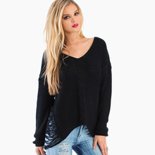 2014 casual front short back long pierced ladies knitted sweaters haoduoyi