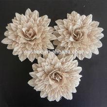 daisy burlap flower,decorative burlap flower for wedding,vintage wedding flower decoratoin
