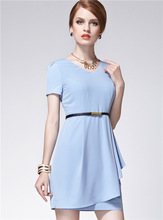 Slim temperament sense of structural asymmetry swing dress,online shopping for clothing