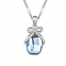 Crystal Tie Shape Necklace,2014 Fashion Crystal Necklace Designs,Fashion Adjustment Crystal Necklace