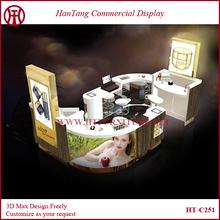10*15 feet mall mdf cosmetics display cabinet cosmetics shop decoration design according to the floor plan