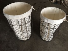 wholesale stainless steel kitchen cooking wire mesh basket handmade wire storage basket with fabric liner
