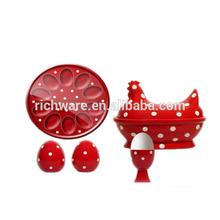 hot porcelain red/white spot dinner kitchen set