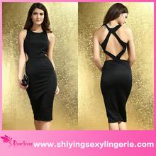 sexy backless mini women sex black party dress
