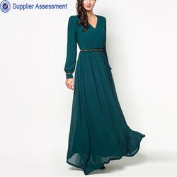 2014 Latest design Muslim beaded embellished wrap dress with belt women green maxi chiffon dress
