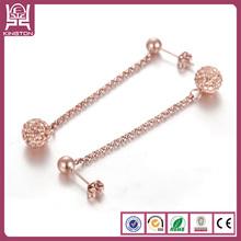 gold crystal ball chain earrings