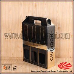 Chinese gift packaging 3 bottles cardboard wine carrier