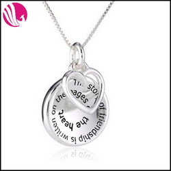 Sterling Silver The Story of Friendship Disc and Heart Pendant Necklaces