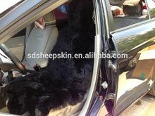 Black Australia Sheep Skin Long Wool Car Seat Covers