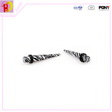 2015 new fashion Zebra Print With Double O Ring UV Acrylic Ear Taper Fake Ear Expander