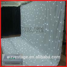 HOT WLK-2W White fireproof Velvet cloth White leds backdrop white wedding backdrop led star curtain