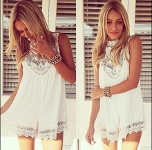Sexy Women Celeb Beach Chiffon Dress Lace Hollow Out Evening Party Vest Shift Dress White G0666