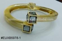 cuff bangle bracelet/diamond bangle/spring bangle/2015 fashion product/metal bangle/jewelry,brushed gold finish