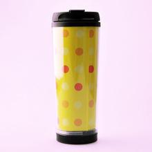 2014factory golden logo advertise paper inside plastic sport water bottles /double wall plastic travel mug