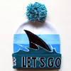 latest unisex custom knitted pom beanie hat for NHL designs