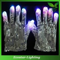 Super brightness LED Glittering Gloves for Night Game