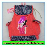 Orange cool girl printed wholesale drawstring bags Travel souvenir bag cute drawstring backpack