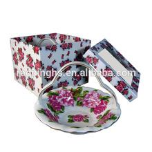 2014new product Portable basket tray color box packing ceramic plates huasheng HSC-09177