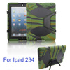 Silicone Heavy Duty military Hybrid rugged Belt clip Holster kickstand shockproof waterproof case For iPad 2/3/4