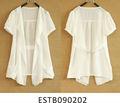 señoras gasa blanco ver a través de frente abierto de la camisa