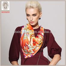 Swallow design twill silk scarf 90x90 women's neckwear