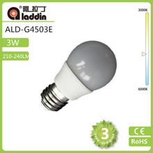 CE RoHS approved G45 3W E27 coated warmwhite Led lamp bulb E14